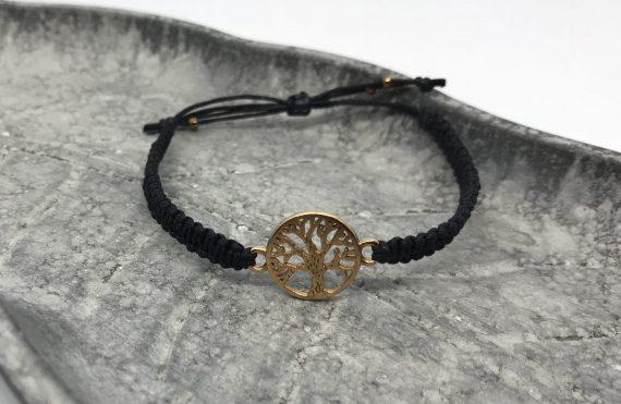lebensbaum armband rosegold schwarz