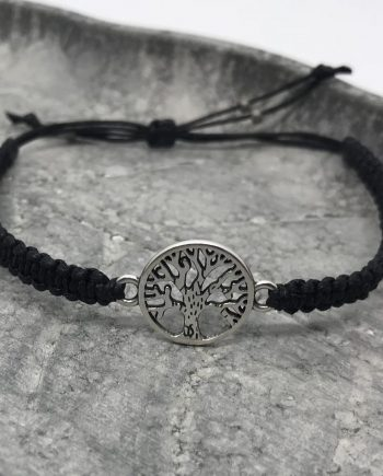 lebensbaum armband silber schwarz