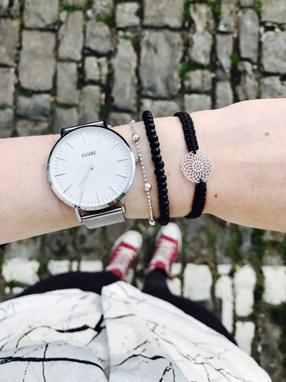 blumen armband silber schwarz