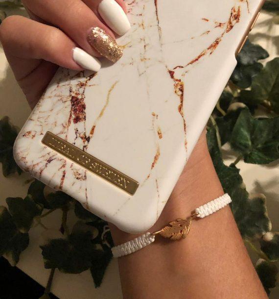 mini feder armband rosegold weiß