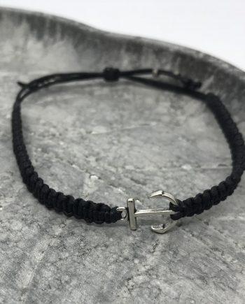 anker armband silber schwarz
