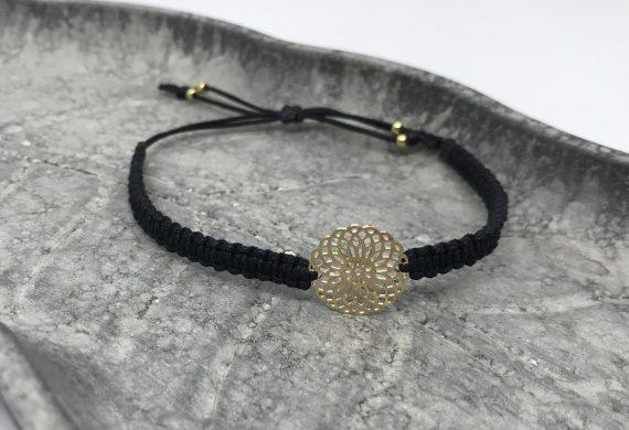 Blumen armband gold schwarz