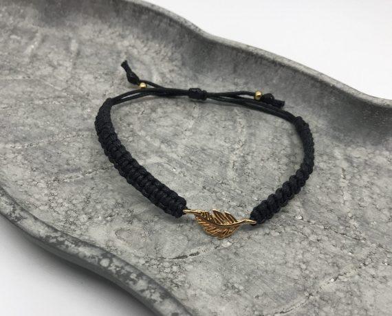 mini feder armband rosegold schwarz