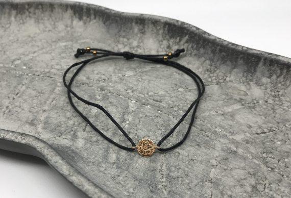 filigranes münzen armband rosegold schwarz