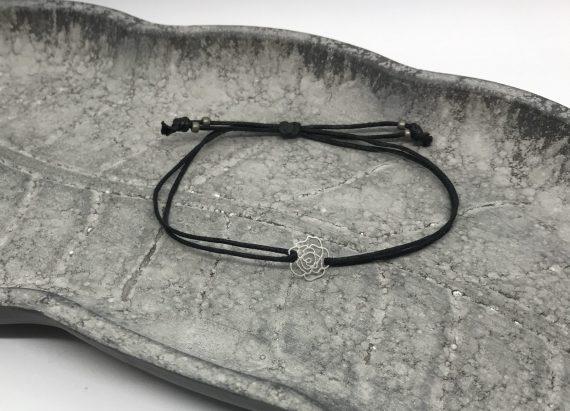 filigranes rosen armband silber schwarz