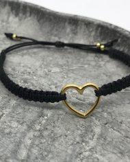 herz armband gold schwarz