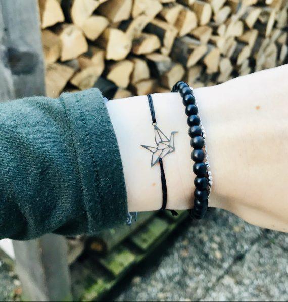 Origami schwan armband silber schwarz 1