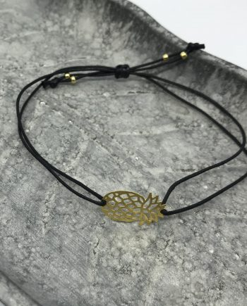 filigranes ananas armband gold schwarz groß