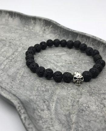 Totenkopf Armband Silber Lavastein