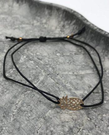 filigranes mini ananas armband rosegold schwarz