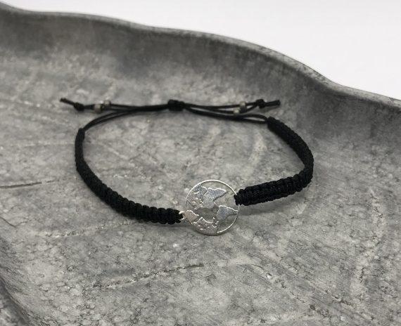 welt armband 925 silber schwarz
