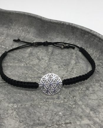 lebensblume armband 925 silber schwarz
