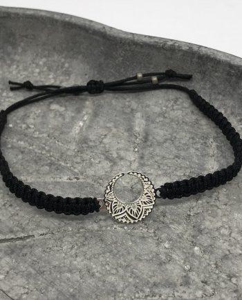 mond armband 925 silber schwarz