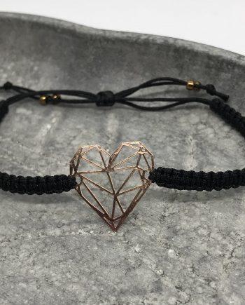 Origami-Herz Armband rosegold schwarz