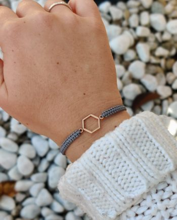 hexagon rosegold grau